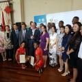 Tourism Minister, Derek Hankom (CENTRE), (LEFT) Deputy Ambassador of China, Hon. Li Song  (RIGHT) Dr. Zhilei Lu.jpg