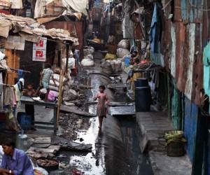 Dharavi slum in Mumbai, India