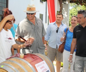 Young wine barrel tasting at KWV.JPG